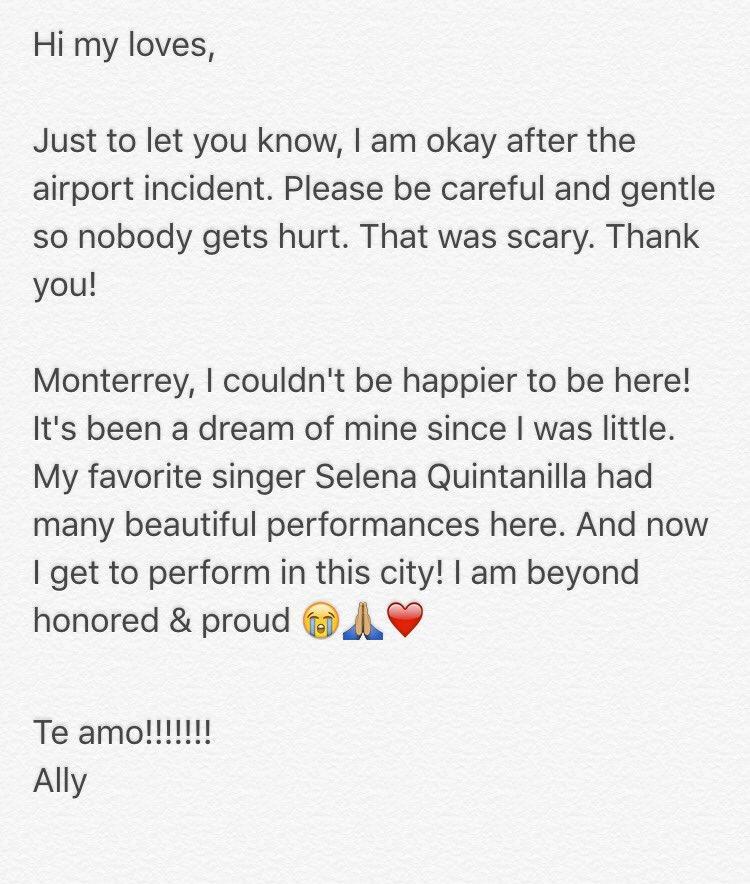 Ally Brooke Hernandez mensaje