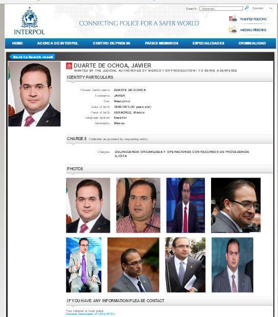 INTERPOL BUSCA AL EXGOBERNADOR DE VERACRUZ JAVIER DUARTE