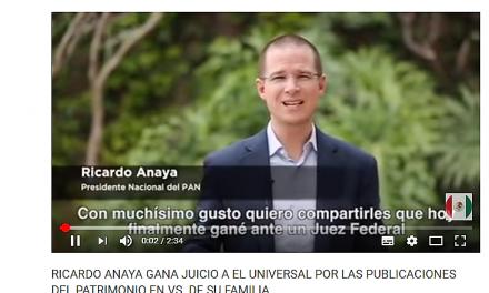 Ricardo Anaya gana demanda al periódico El Universal.