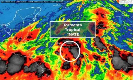 "Tormenta tropical ""Nate"" en aguas del Caribe. En Quintana Roo se mantiene la Alerta Azul"