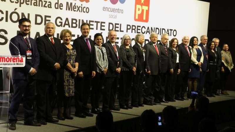 AMLO PRESENTA A SU GABINETE EN PRIMER ACTO DE PRECAMPAÑA