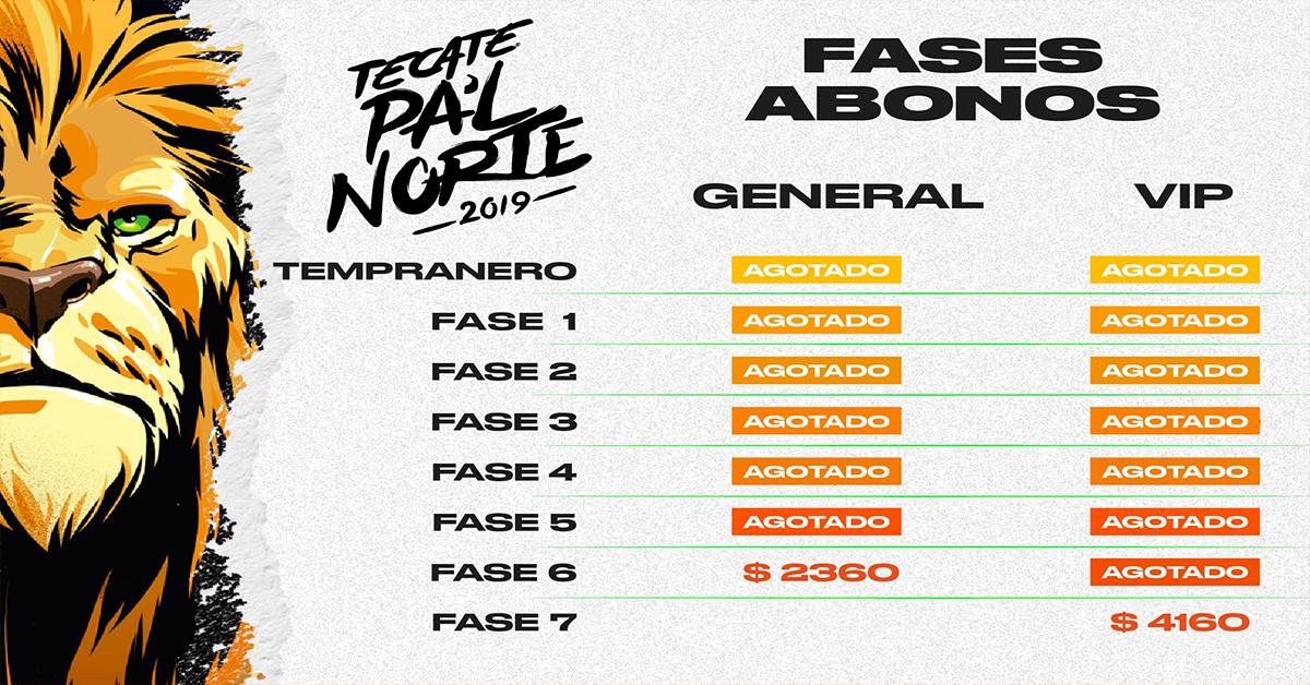 Totalmente vendido fases 1, 2, 3, 4, 5, 6 y 7 de Pa´l Norte agotadas