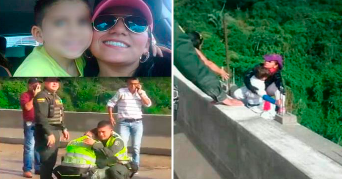 Mujer se lanza al vacío con su hijo de 10 años desde un puente