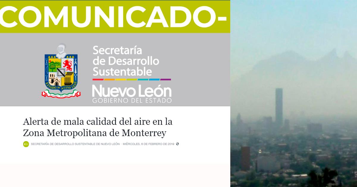 Alerta de mala calidad del aire en Monterrey