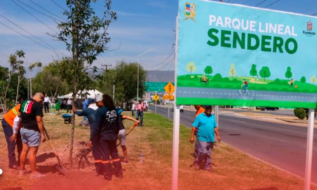 Construyen Escobedo y San Nicolás parque lineal sendero; plantarán 700 árboles