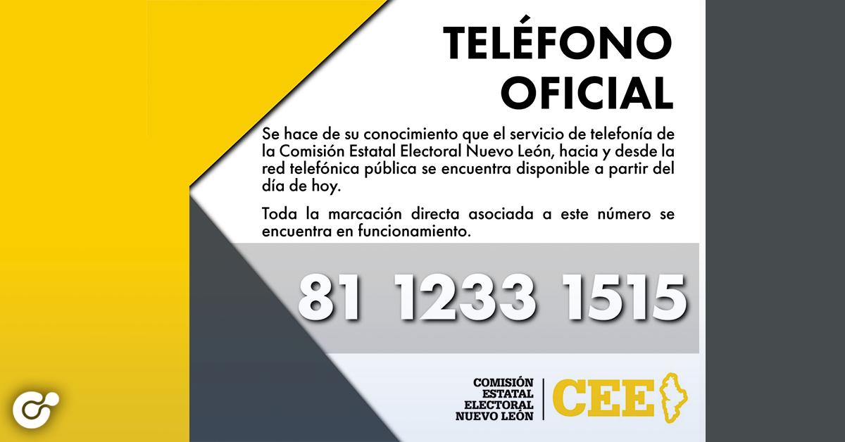 Ya puedes comunicarte al teléfono de CEENL