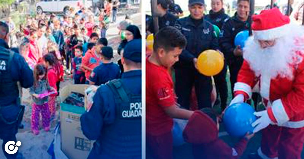 Policías de Guadalupe regalan juguetes a niños