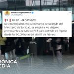 España pedirá prueba PCR negativa a viajeros de México
