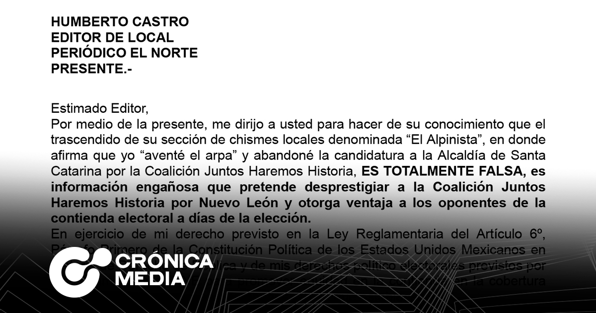 Réplica de Ivonne Bustos a nota de El Norte