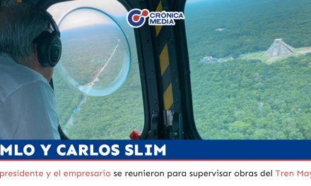 AMLO y Carlos Slim sobrevuelan en helicóptero obras del Tren Maya